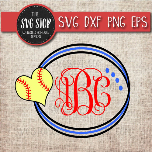 softball circle monogram frame svg clipart cut file