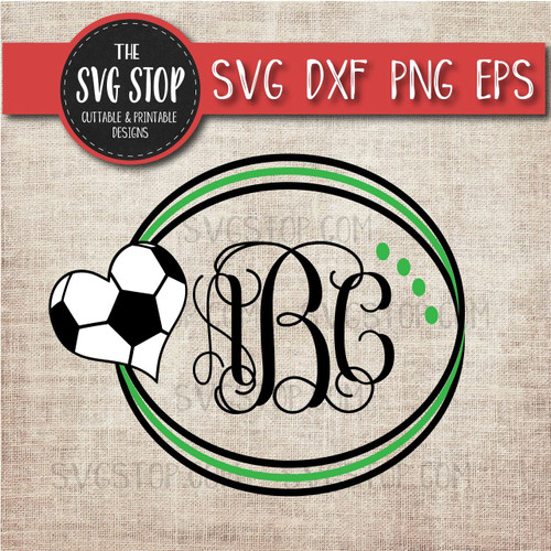soccer circle monogram frame svg clipart cut file