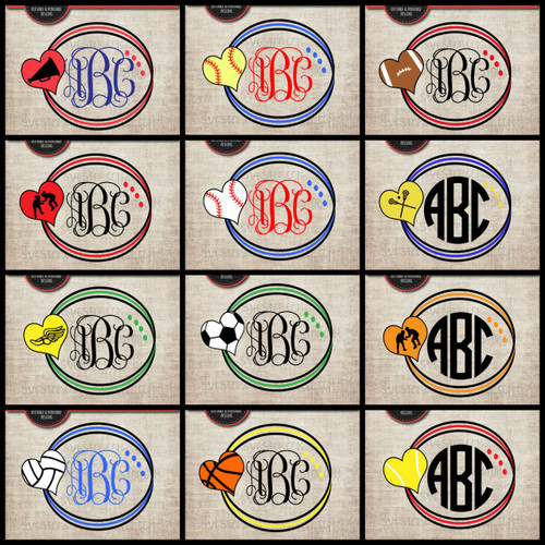 sports circle monogram frames bundle svg clipart cut file