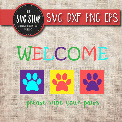 welcome paws mat svg design clipart cut file