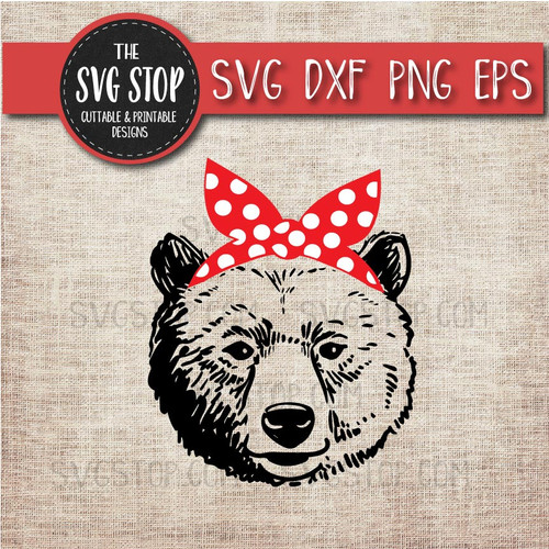 Bear Bandana Clipart Cut File SVG Silhouette