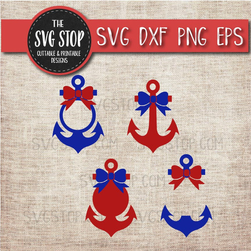 Anchor Monogram frames with bow svg clipart cut file