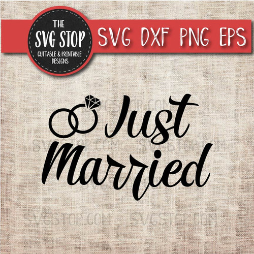 just married svg clipart cut file rings