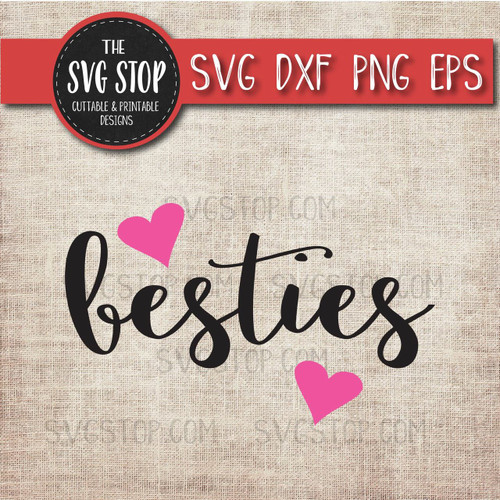 besties hearts svg clipart cut file
