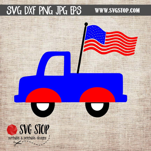truck with flag clipart cut file svg design