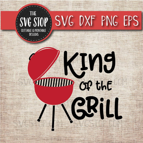 king of the grill dad summer bbq grilling clipart cut file svg graphic