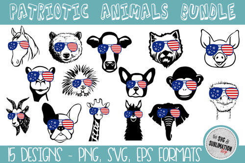 americana animals with flag glasses sublimation cut files
