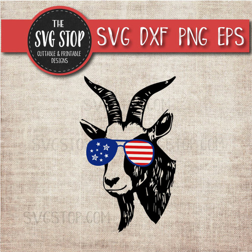 goat with glasses flag glasses america patriotic svg clipart cut file sublimation design