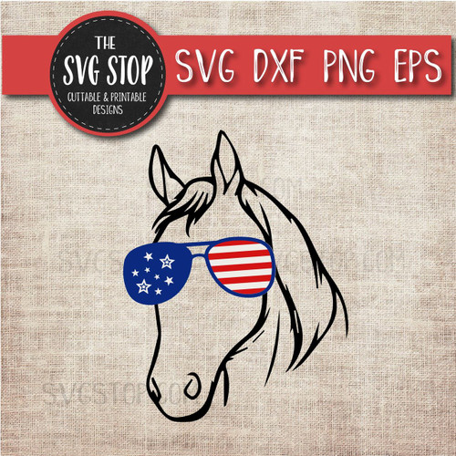 horse with glasses flag glasses america patriotic svg clipart cut file sublimation design