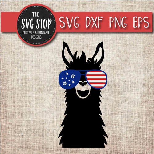 llama with glasses flag glasses america patriotic svg clipart cut file sublimation design