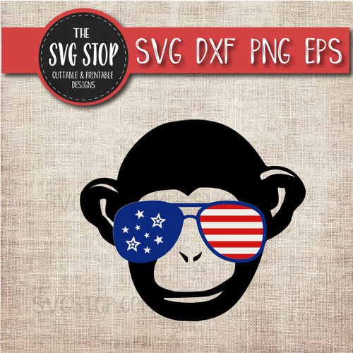 Monkey with glasses flag glasses america patriotic svg clipart cut file sublimation design