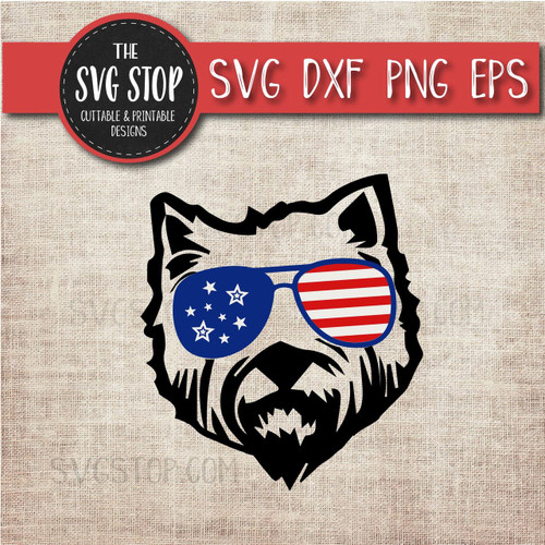 Westie Dog with glasses flag glasses america patriotic svg clipart cut file sublimation design