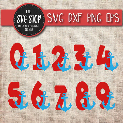 anchor numbers birthday design clipart cut file svg sublimation design