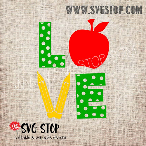 love apple pencil school teacher svg clipart cut file sublimation design