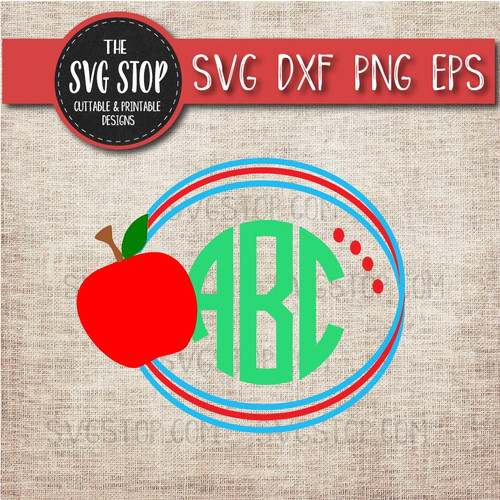 apple monogram frame pencil school teacher svg clipart cut file sublimation design