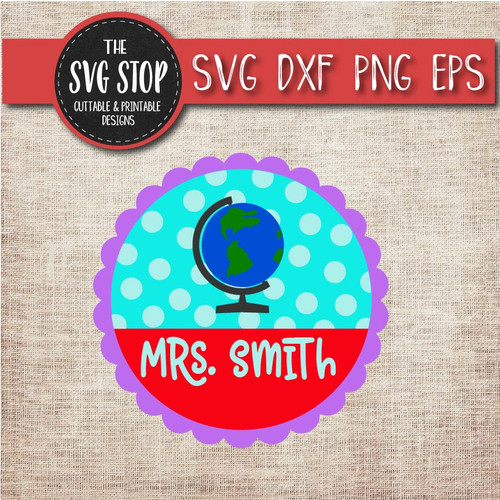 globe monogram frame school teacher svg clipart cut file sublimation design