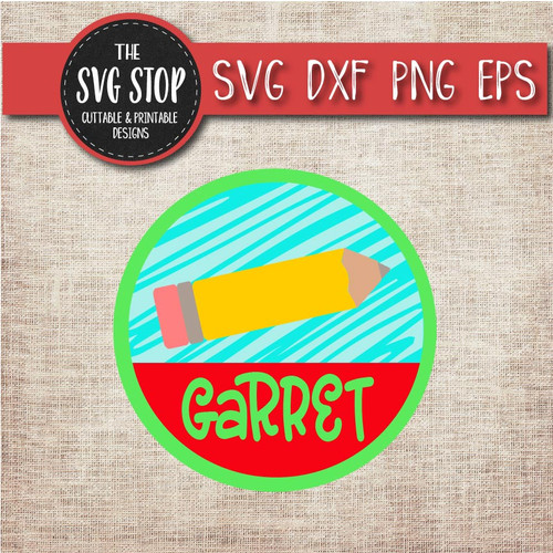 pencil monogram frame school teacher svg clipart cut file sublimation design