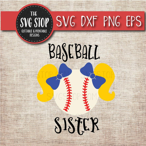 baseball sister sibling pigtails svg clipart cut file sublimation design