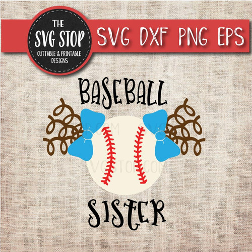 baseball sister sibling pigtails curls svg clipart cut file sublimation design