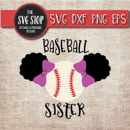 baseball sister sibling pigtails puffs svg clipart cut file sublimation design