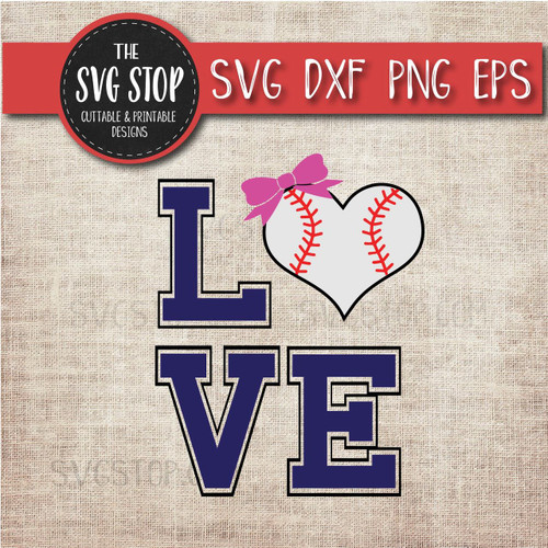 baseball heart bow love svg clipart cut file sublimation design