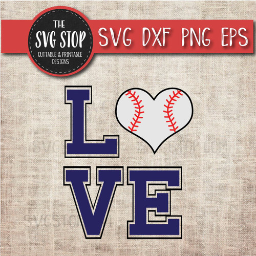 baseball heart love svg clipart cut file sublimation design