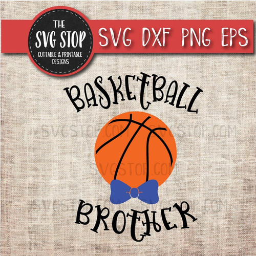 Basketball brother sibling bowtie svg clipart cut file sublimation design