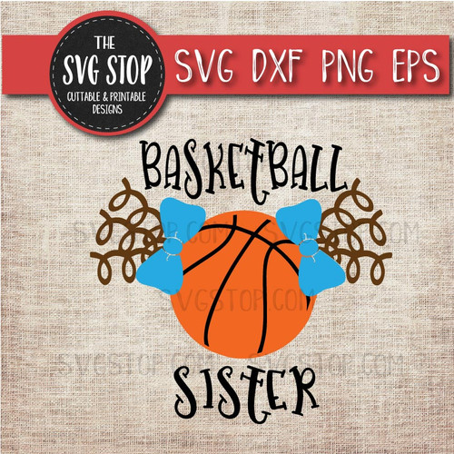 Basketball sister sibling pigtails curls svg clipart cut file sublimation design