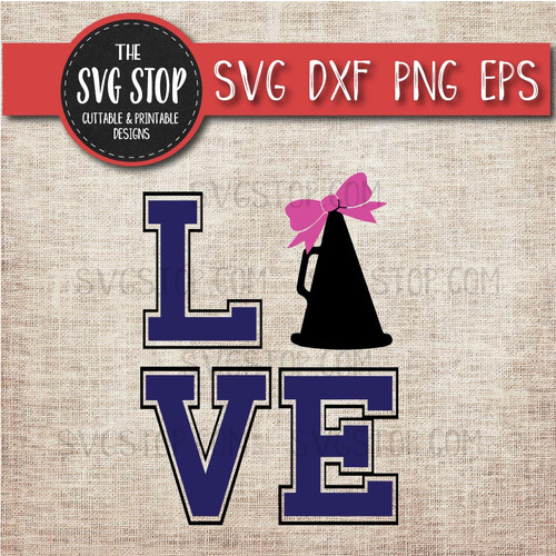 love Cheerleading megaphone bow svg clipart cut file sublimation design