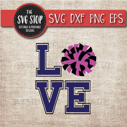 love Cheerleading pompom svg clipart cut file sublimation design