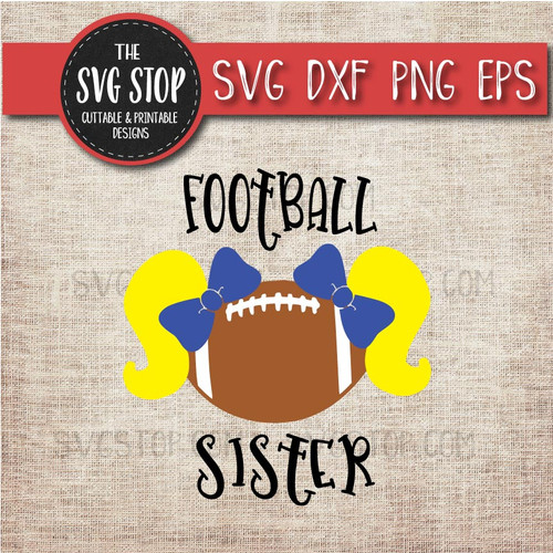 Football sister sibling pigtails svg clipart cut file sublimation design