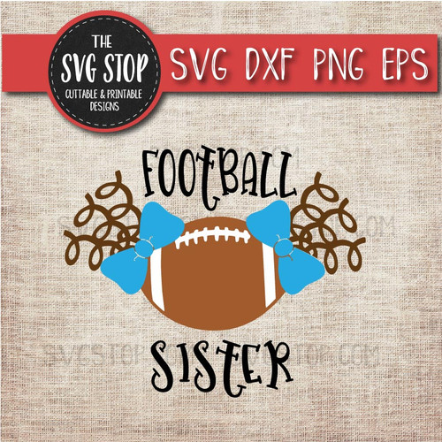 football sister sibling pigtails curls svg clipart cut file sublimation design