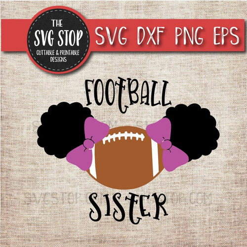 Football sister sibling pigtails puffs svg clipart cut file sublimation design