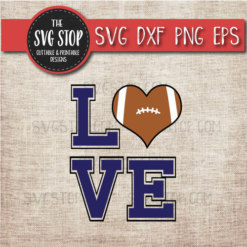 Football heart love svg clipart cut file sublimation design