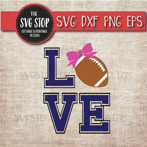 love Football Bow svg clipart cut file sublimation design