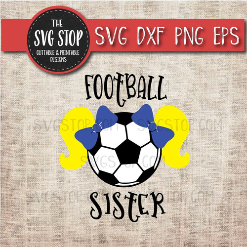 Football Soccer  sister sibling pigtails svg clipart cut file sublimation design