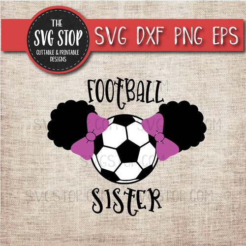 Football Soccer sister sibling pigtails puffs svg clipart cut file sublimation design