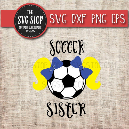 Soccer  sister sibling pigtails svg clipart cut file sublimation design