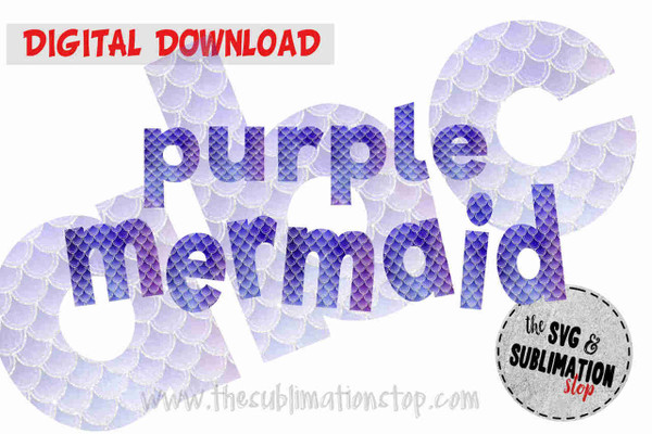 purple mermaid scales pattern letters font alphabet for sublimation printing