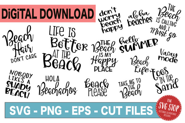 Beach Quotes for tshirts in SVG files for cutting machines