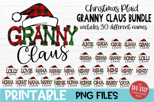 Granny Claus Sublimation PNG Printable File Buffalo Plaid Filled Letters