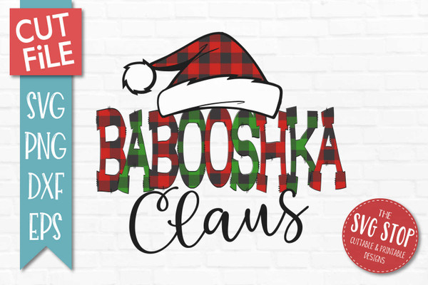 Babooshka Claus Sublimation PNG Printable File Buffalo Plaid Filled Letters