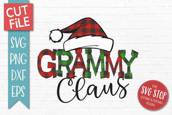 Grammy Claus Sublimation PNG Printable File Buffalo Plaid Filled Letters