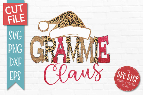 Grammie Claus Sublimation PNG Printable File Cheetah Glitter Filled Letters