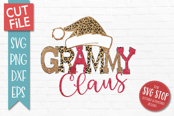 Grammy Claus Sublimation PNG Printable File Cheetah Glitter Filled Letters