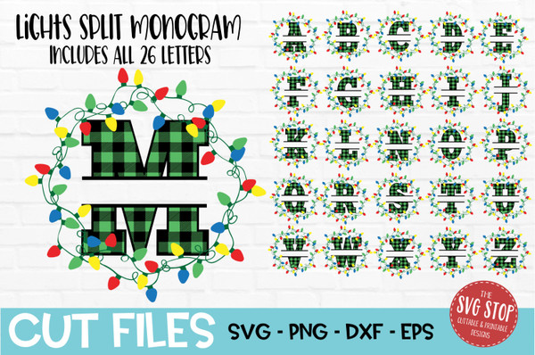 Buffalo plaid split letters  svg with wreath and christmas lights cut file and sublimation