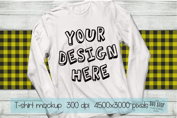 long sleeve white tshirt mockup with yellow plaid scarf background