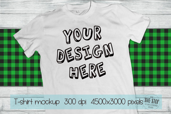 white tshirt mockup with Green plaid scarf background