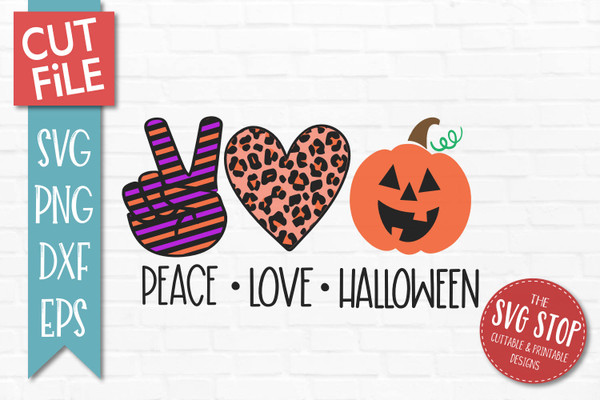 peace love halloween svg cut file