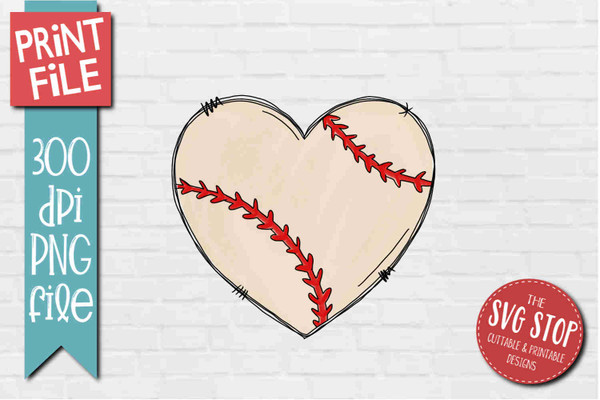 Baseball Doodle Heart - PRINT File - Sublimation Design